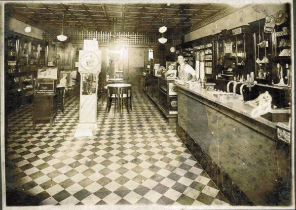 The inside of Ashworth's Drugstore circa approximately 1957