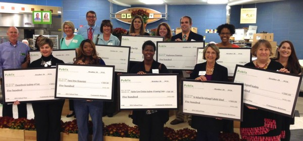 Publix awarded 10 nearby schools $500 each at their opening event
